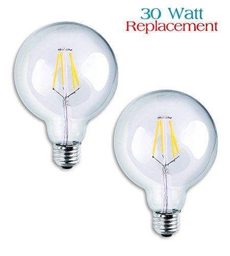 [Luxrite LR21236 (2-Pack) 4W G25 LED Filament Globe Light Bulb, Equivalent to 30W Incandescent G25 Light Bulb, Warm White 2700K, 350 Lumens, E26 Medium Base] (60w Reveal Globe)