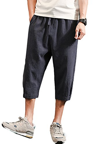 "sandbank Men's Drawstring Shorts Loose Summer Linen Harem Capri Yoga Pants (Navy, Waistline:31""-32"" US S) (Shorts Drawstring Capri)"