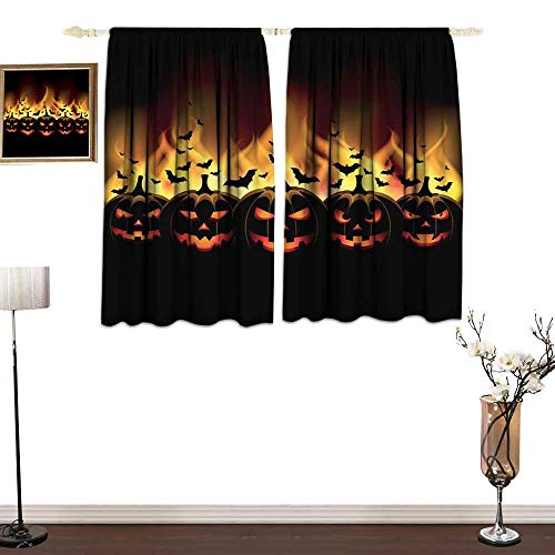 one1love Half Blackout Curtains: Vintage Halloween Happy Halloween Image with Jack o Lanterns on Fire with Bats Holiday Bedroom Balcony Living Room W55 -