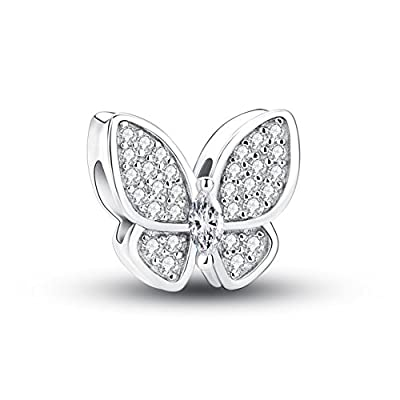 Glamulet Clear Crystal Butterfly Series Charms 925 Sterling Silver Beads Fits for Bracelet by Glamulet