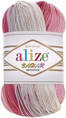 Hilo de algodón 100% mercerizado Alize Bahar Batik para tejer a mano hilo turco, lote de 4 madejas de 400 g 1137 yardas: Amazon.es: Juguetes y juegos