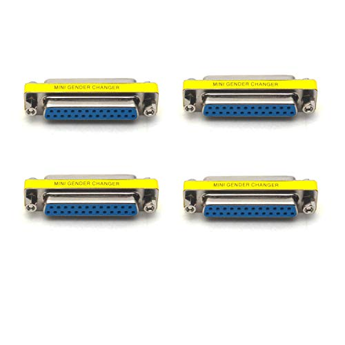 Antrader 4-Pack DB25 25 Pin Serial Port Female to Female Mini Gender Changer Coupler Adapter RS232 Connector