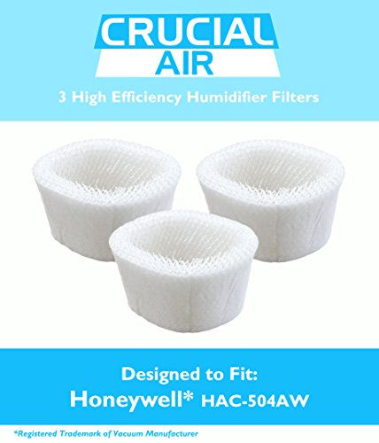 3 Honeywell HAC-504AW Humidifier Filter; Fits Honeywell HCM-600, HCM-710, HCM-300T & HCM-315T; Compare to Part # HAC-504AW; Designed & Engineered by Crucial Air