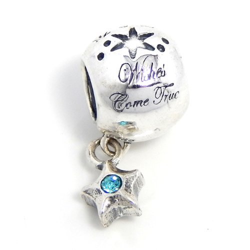 """Pro Jewelry .925 Sterling Silver """"Wishes Come True w/ Dangling Blue Crystal Star"""" Quality Charm Bead for Snake Chain Charm Bracelets"""