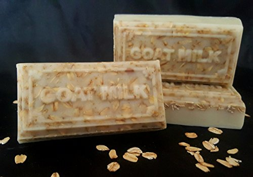 Pack of 4, All Natural Soaps Moisturizing No Harsh Chemicals, made with real ingredients, Goat Milk & Oatmeal, Shea Butter & Organic Extra Virgin Olive Oil, Shea Butter & Lavender, handmade homemade.