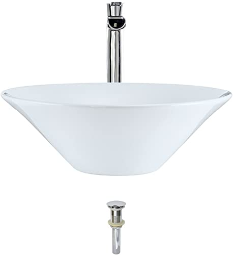 V220-White Porcelain Vessel Sink Chrome Ensemble with 731 Vessel Faucet Bundle – 3 Items Sink, Faucet, and Pop Up Drain