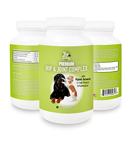 Top Dog Hip and Joint Supplement Includes Chondroitin, Glucosamine, MSM and Turmeric, 120 Chewable Tablets