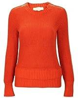 Michael Kors Women's L/S Crew Zip Sweater-ORANGE SPICE