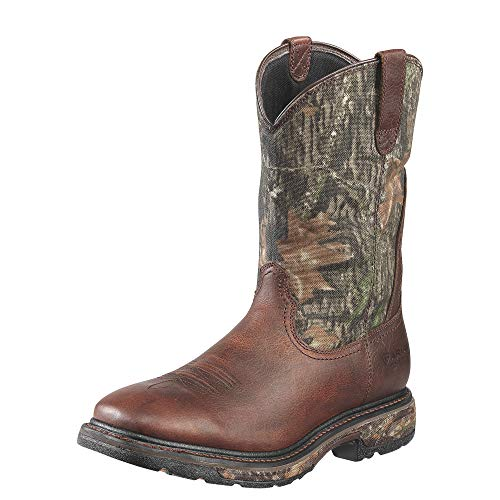 Ariat Men's Workhog Wide Square Toe H2O Steel Toe Work Boot, Oiled/Mossy Oak, 7.5 M US
