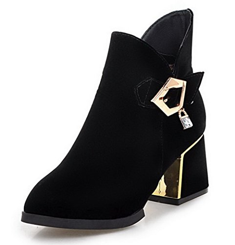 Frosted AgooLar Toe Zipper Pointed Solid Heels Boots Women's Closed Black Kitten rnBqr6S0