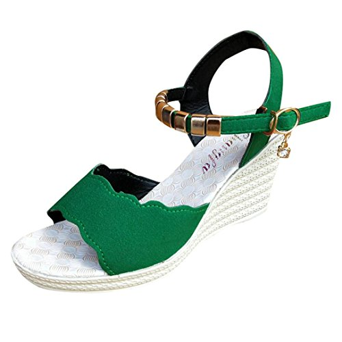 HUHU833 Women Fish Mouth Rhinestone Platform High Heels Buckle Slope Sandals Green a9d04