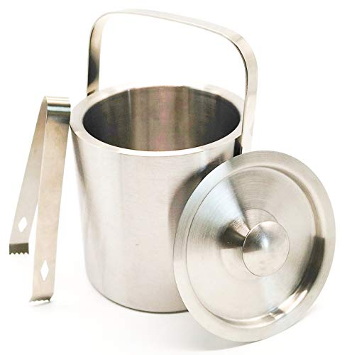 - Stainless Steel Ice Bucket with Tongs and Lid; Chiller Set with Double Walled Insulated Design; Great for Cocktail Parties, Barware, Serverware, Holding Ice, Wine, Champagne; 1.3L, Silver