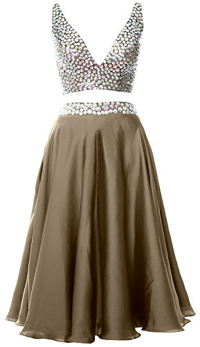 Prom Straps Formal Gown V Pewter 2 Dress MACloth Neck Women Piece Cocktail Short 2017 wcBWwaUSq