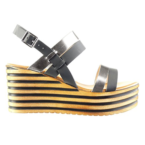 Angkorly - Scarpe da Moda sandali Mules zeppe donna lines lucide Tacco zeppa piattaforma 8 CM - Nero