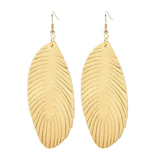 Genuine Leather Feather Leaf Earrings Bohemia Dangle