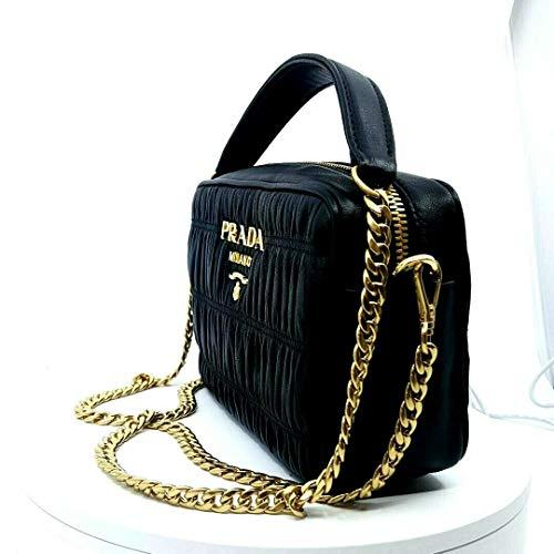Prada Bandoliera Nero Black Nappa Gaufre'1 Quilted Leather Handbag 1BH112