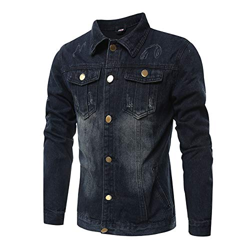 Men Jackets,Dartphew -Men's Turn-Down Collar - Denim Jacket & Long Sleeve