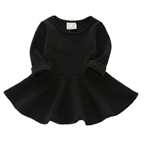 Baby Dress (Infant Toddler Baby Girls Dress Pink Ruffle Long Sleeves Cotton (9-12m(80), Black))