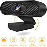 Webcam with Microphone,1080 HD Webcam for PC Laptop,USB Webcam Plug and Play with Microphone,Recording,Video Calling,Conferencing,Skype