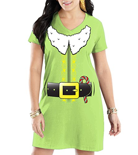 HAASE UNLIMITED Women's Elf Costume V-Neck Nightshirt (Light Green, Large/X-Large)]()