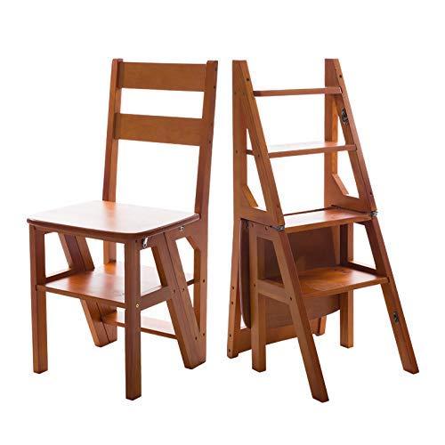 LZY Taburetes con escalera Taburete plegable de madera maciza ...