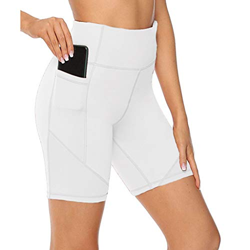 Women's High Waist Quick-Drying Tight-Fitting Stretch Fitness Yoga Pants Tummy Control Tights Short Leggings Pants with Side Pockets (XS, White)