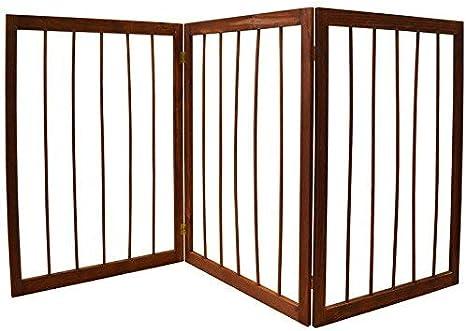 Puerta plegable con 3 partes de madera para perro: Amazon.es ...