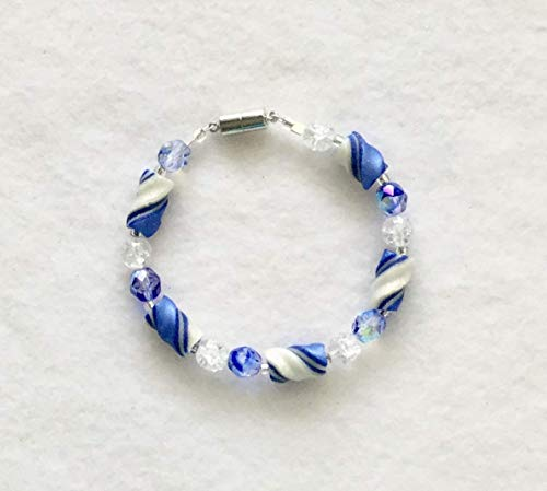Blue and White Twist Tube Bead Bracelet Handcrafted Polymer Clay Swirled Glass Beads Magnetic Clasp for You