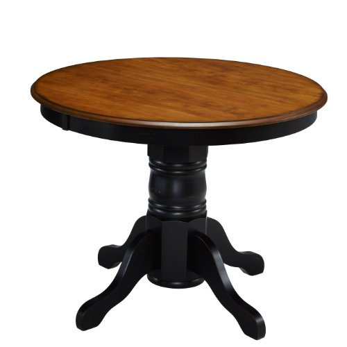 Home Styles 5519-30 The French Countryside Pedestal Table, Oak and Rubbed Black