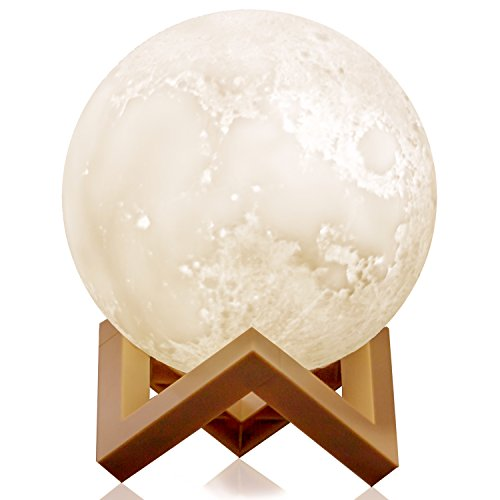 Moon Lamp  5 9 Inch 3D Lunar Moon Night Light  Migoom Led Full Moon Light For Kids  Moon Globe Light For Bedroom  Moon Decor Touch Lamp Glowing Table Desk Night Light 3 Colors Cool Warm White Yellow