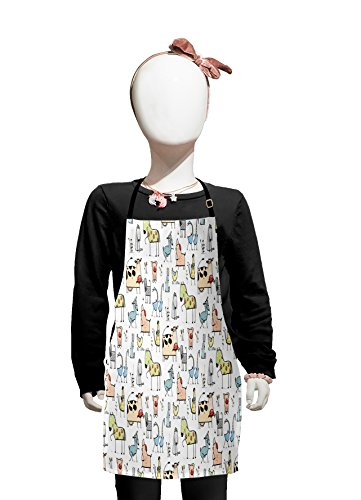 Lunarable Animal Kids Apron, Cute Cow Horse Pigs Chicken Sheep Farmhouse Mascots Kids Nursery Baby Cartoon Print, Boys Girls Apron Bib with Adjustable Ties for Cooking Baking and Painting, Multicolor]()