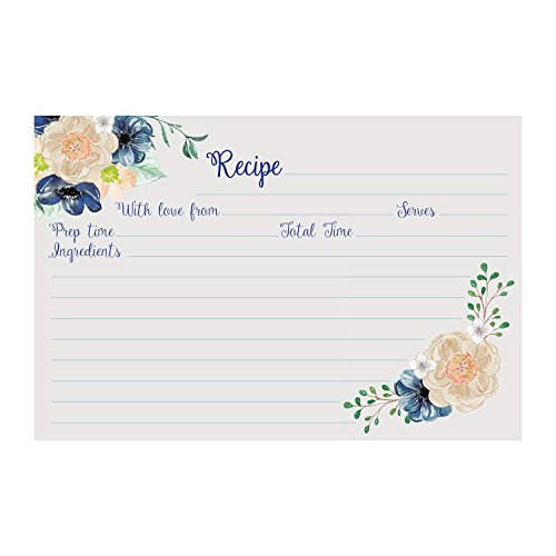 Recipe Cards (Set of 50) Floral Design - Size 4x6 Blank Cards, Double Sided, Great for Bridal Shower, Baby Shower, and (Baby Shower Recipe Card)