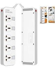 لدنيو مشترك كهربائي 5 عين UK بمفاتيح منفصله لكل عين بجسم مضاد للحريق و كابل بطول 2 متر 2500 واط