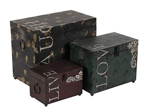 "Deco 79 Metal Trunks (Set of 3), 16""/12""/9"""