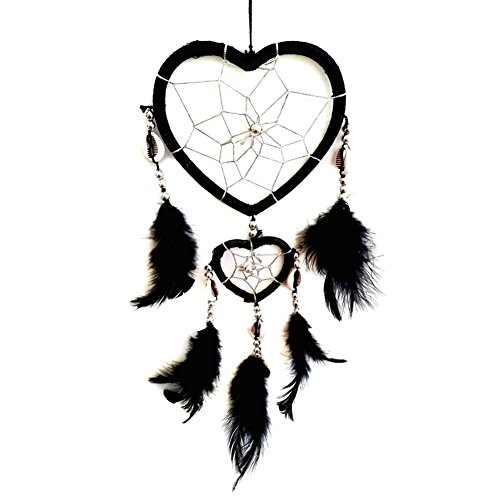 Gsha Handmade Mini Dream Catcher With Feathers Long Wall Car Hanging Key Chain Decor (Black(Heart lenght: (Beaded Heart Ornament)