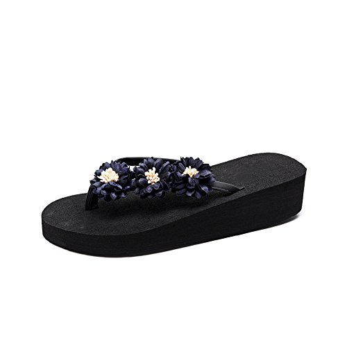 Sandals blue 760 Wedges Flops Women's Beach Platform with Flip Thong fereshte Flower Black wO0Ppqn