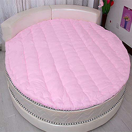 MSM Round Mattress, Thicken Quilted Soft Comfort Solid Color Bedroom Living Room Floor mat Futon Bed roll-Pink Diameter:210cm