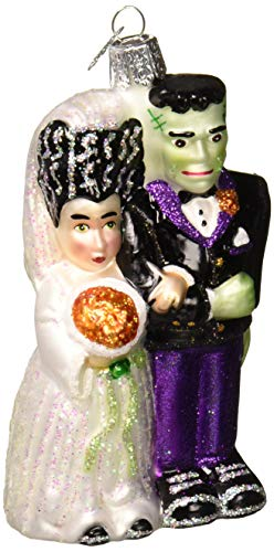 Old World Christmas Ornaments: Frankenstein & Bride Glass Blown Ornaments for Christmas Tree -