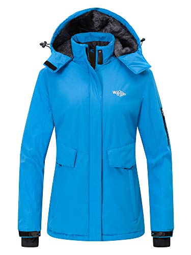 Wantdo Women's Mountain Jacket Waterproof Thick Rain Coat Winter Anorak Blue XL