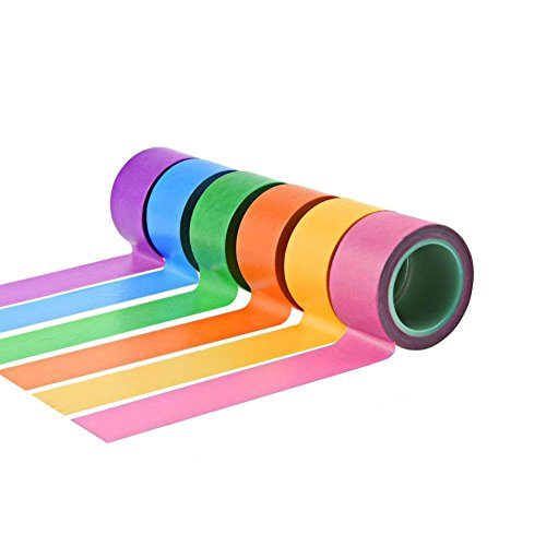 NKTM Masking Tape Multi-Use 1 inch Wide Labeling Tape for Arts, Craft, Painting, Marking Core Assorted Rainbow Colors 77 Yard 6 Pack by NKTM