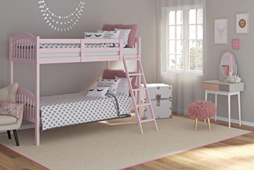 Storkcraft Long Horn Solid Hardwood Twin Bunk Bed, Pink Twin Bunk Beds for Kids with Ladder and Safety Rail