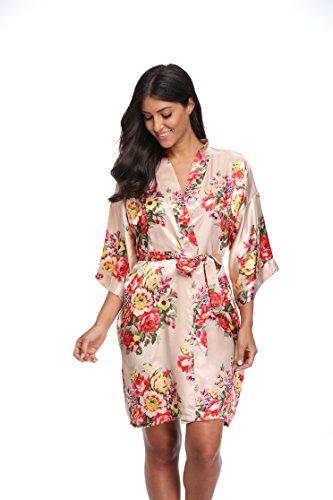 CostumeDeals KimonoDeals Women's dept Satin Short Floral Kimono Robe for Wedding Party, Champagne S