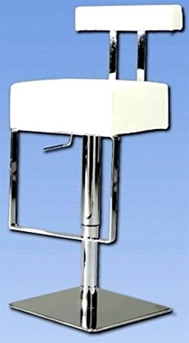 Chintaly Imports 0812-AS-WHT Pneumatic Gas Lift Adjustable Height Swivel Stool, Brushed Steel/White
