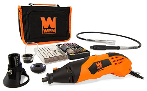 1.4-Amp High-Powered Variable Speed Rotary Tool with Cutting Guide, LED Collar, 100+ Accessories, Carrying Case and Flex Shaft - WEN 23114