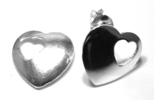 Arranview Jewellery Boucles d'oreille clous en forme de cœur de l'enfant en argent Sterling 925