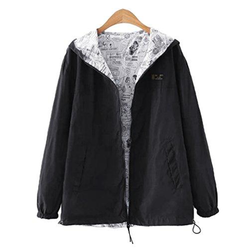 YAANCUN Femme Automne Simple Mode Cardigan Loisir Manteau Noir