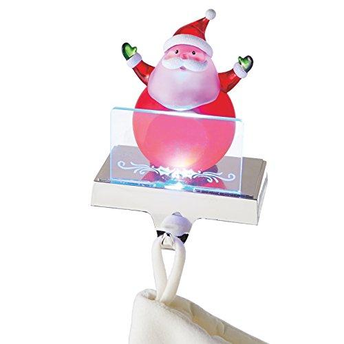 Clear Santa Claus LED Light-up 6 inch Acrylic Christmas Figurine Stocking Holder