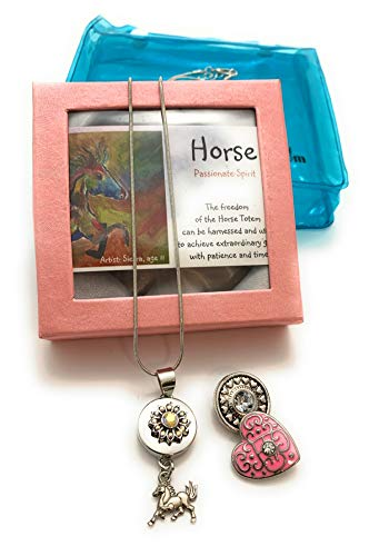 Smiling Wisdom - Horse Heart Ginger Snap Button Necklace Gift Set - Animal Horses - Children