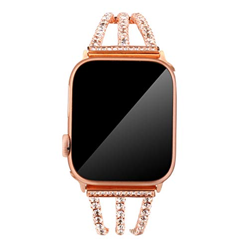 SHUDAGE Apple Watch Series 4/3/2/1 42mm/44mm Bling Band, Cuff Bangle Diamond Luxury Stainless Steel Watch Band Sports Replacement Strap Loop Bracelet for iWatch 4/3/2/1 42mm/44mm (rose gold)