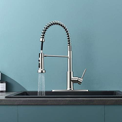 Kitchen Faucet, Kitchen Sink Faucet, Sink Faucet, Spring Pull-down Kitchen Faucets, Bar Kitchen Faucet, Brushed Nickel, Stainless Steel, RULIA RB1027